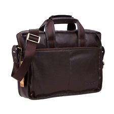 "Men's Genuine Leather Messenger Shoulder Bag Briefcase Handbag Fit 14"" Laptop"