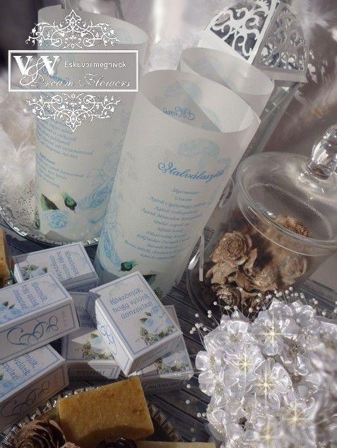Díszdobozos szappan köszönetajándék és menü hengerek jeges rózsával - V&V Dream Flowers esküvői meghívók, menü- és ültetőkártyák, köszönetajándékok
