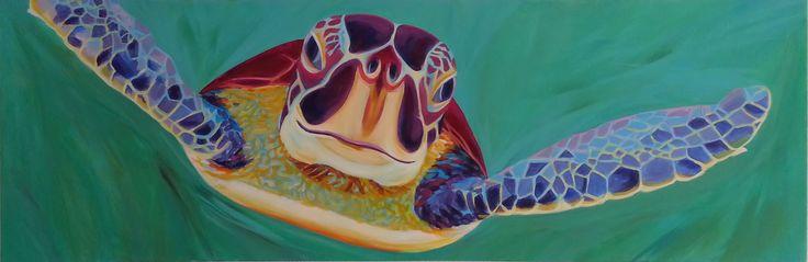 Nicoline van Dalen, nr-art, verkoopt schilderij 'Purple Turtle' via #KUNSTmarktplaats.nl. #kunst #Schildpad #turtle #art