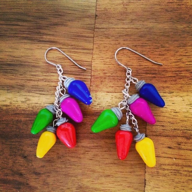 Christmas light polymer clay handmade dangle earrings with hypoallergenic surgical stainless steel. #jewelry #29jewel #Handmadeearrings #Christmasearrings #etsy