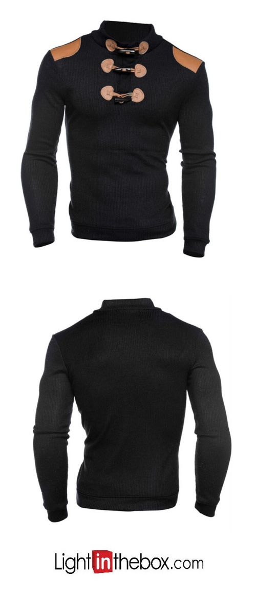 Men's Casual/Daily Sweatshirt Solid Cotton Long Sleeve Spring Fall