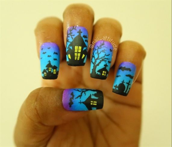 Halloween Haunted House Gradient Nails Background With Hand Drawing Almond Background Colors Crazy Halloween Nail Designs Halloween Nails Holloween Nails