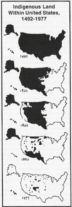 Indigenous land in the USA,1492-1977.  We should all be proud.  Manifest Destiny?