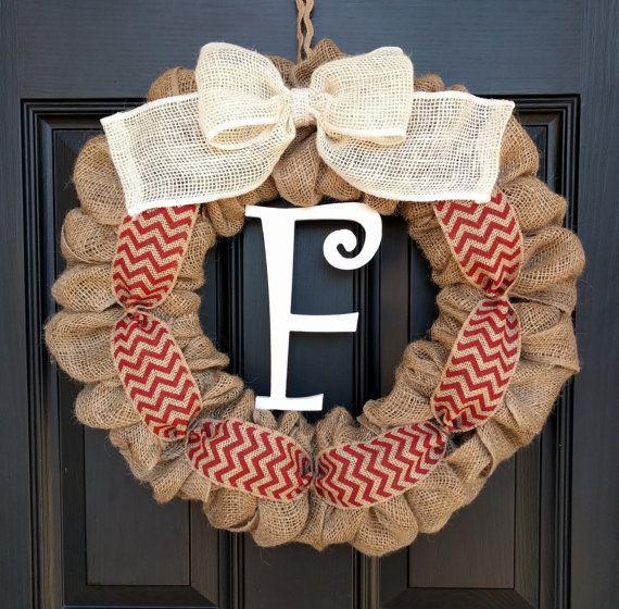 Burlap Wreath Red Chevron Burlap Wreath-Monogram Wreath-Gift