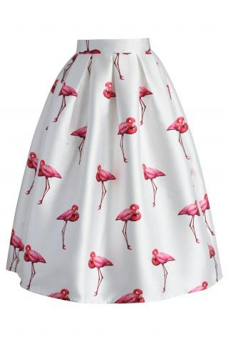 Chice Flamingos – Plissierter Glockenrock - Bottoms - Retro, Indie and Unique Fashion