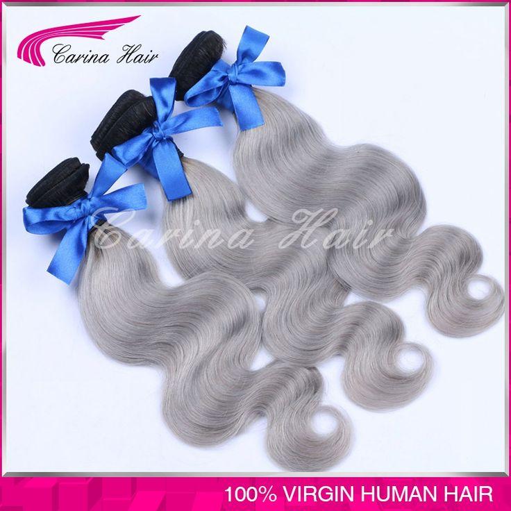 7A Brazilian Body Wave 3pcs Ombre Silver Grey Hair Weaving 1b/Gray Two Tone Brazilian Virgin human hair Ombre Hair extensions