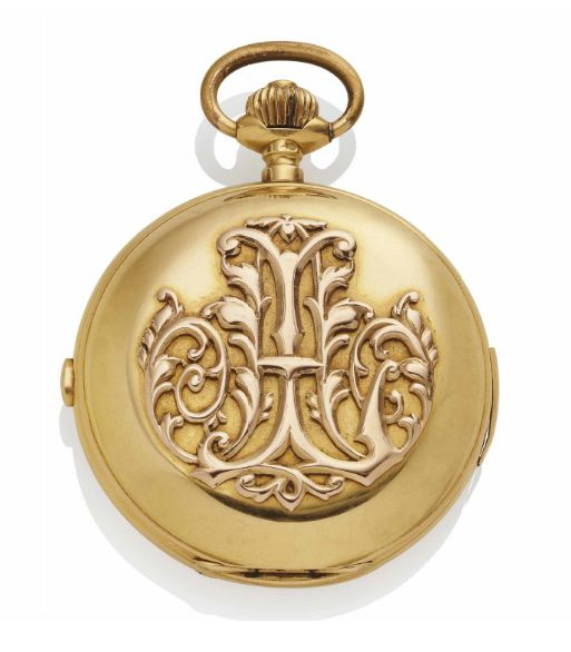 A GOLD CHRONOGRAPH POCKET WATCH