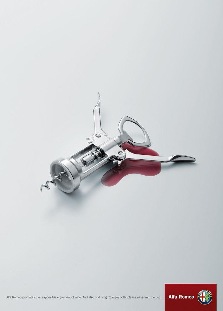 Alfa Romeo: Don't Drink and Drive | #ads #marketing #creative #print #poster #advertising #campaign #Print #publicidad gráfica. Entre en el fantástico mundo de elcafeatomico.com para descubrir muchas más cosas! #advertising