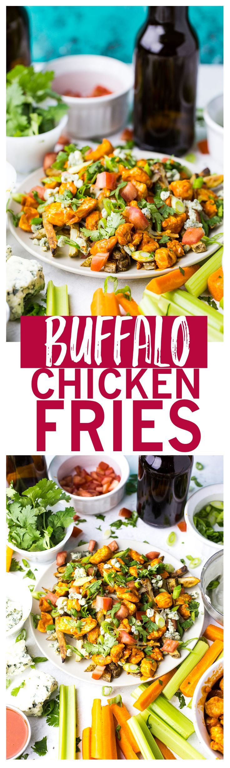 Loaded Buffalo Chicken Fries are a healthier alternative to game day food, made with homemade oven fries and blue cheese!