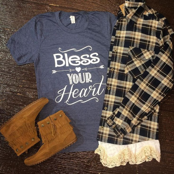 Bless Your Heart on the front with a small Texas on the back between the shoulder blades!