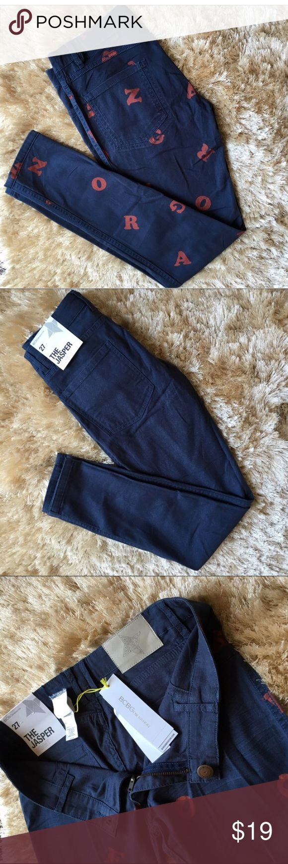 """NWT BCBGENERATION JASPER REVERSIBLE JEANS 27 BCBGENERATION Reversible Jasper Jeans  Retail Price: $118  NWT  Size: 27  Inseam 30"""" Rise 8"""" Waist 33"""" Hip 38""""    Reversible stretch denim. Navy blue with dark red letters on one side and navy blue with subtle metallic sheen on the other side. Wear them both ways for a casual or glam look. 98% cotton 2% spandex BCBGeneration Jeans Skinny"""