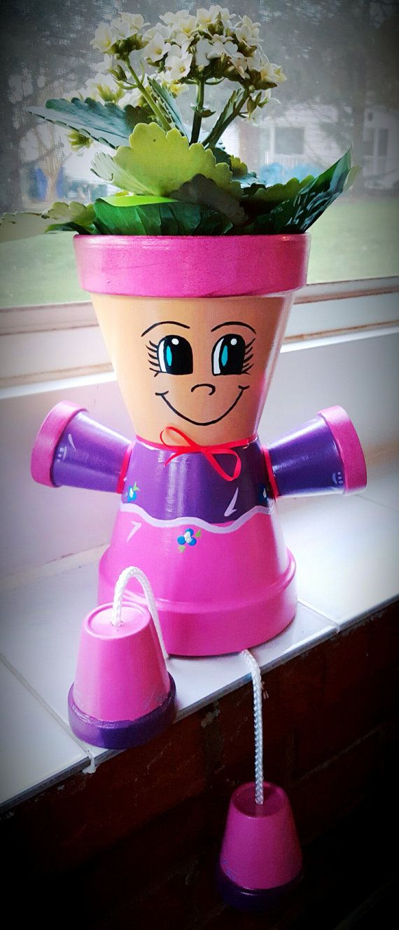 Pink/Purple Clay Pot Person / Flower Pot by JustKraftz on Etsy