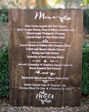 Large wooden menu sign