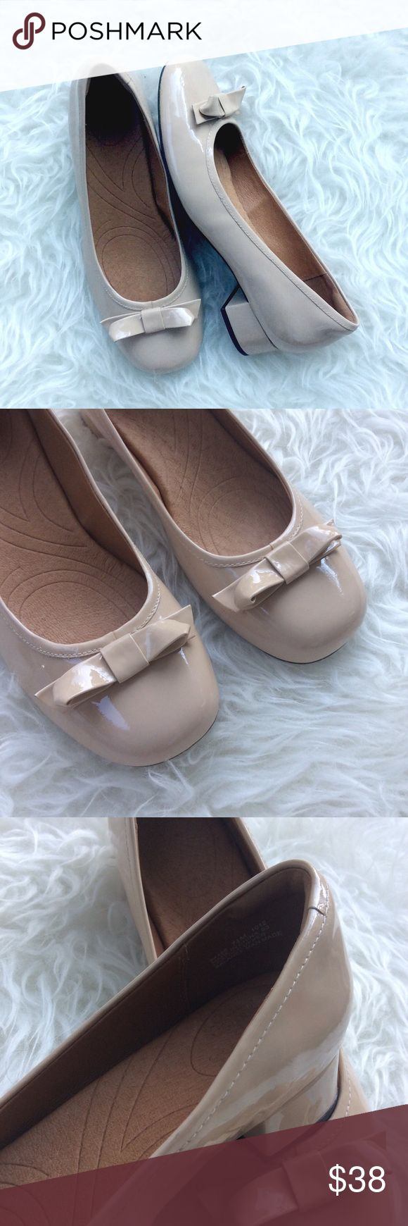 """Clarks Nude Patent Leather Ballet Heels Excellent, like new condition Clarks nude patent ballet heels. Size 7.5. Super comfy, leather. 1"""" heels. No trades, offers welcome. Clarks Shoes Flats & Loafers"""