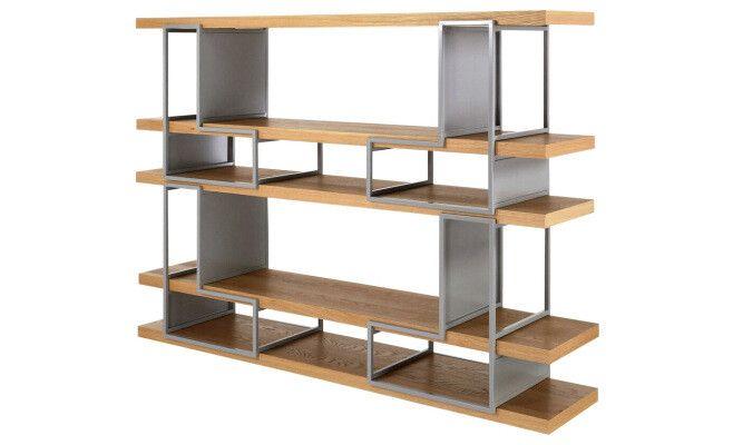 """Bibliothèque """"Cubik"""" gris chêne plaqué et métal 172 x 35 x 104 à 126 cm"""