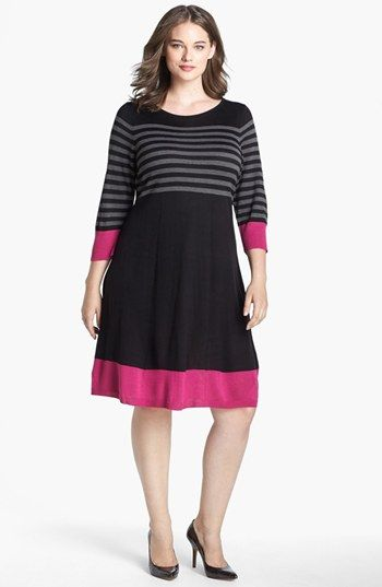Eliza J Fit & Flare Sweater Dress (Plus Size) available at #Nordstrom