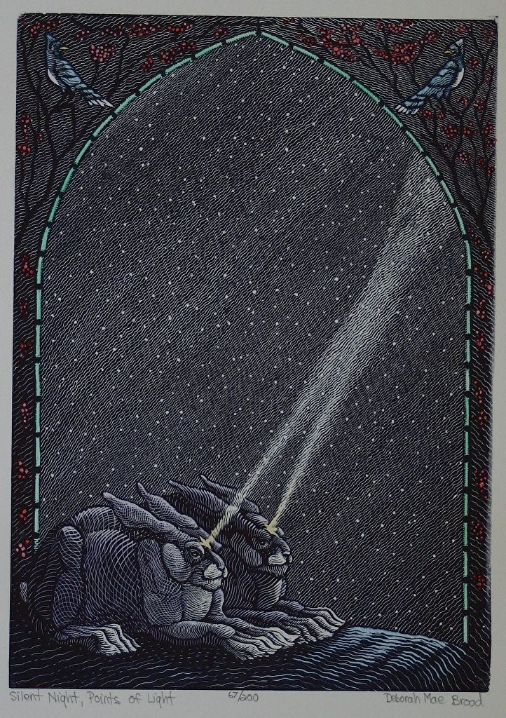 Silent Night Points Of Light Wood Engraving Hand Colored 5 X 7
