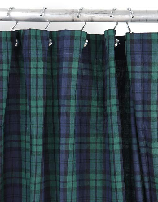 <br>Add a stylish accent to your bathroom decor with our Walker navy plaid shower curtain.<br><br>This yarn-dyed masterpiece has been woven from 100-percent cotton. The gorgeous plaid pattern fe...