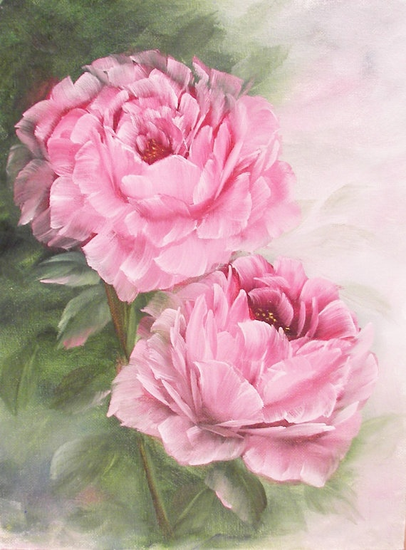 2 Pretty Pink Shabby Roses Original Oil Painting  9 by oh2paint, $55.00