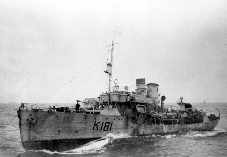 Canadian corvette HMCS Sackville pictured while on convoy escort station.