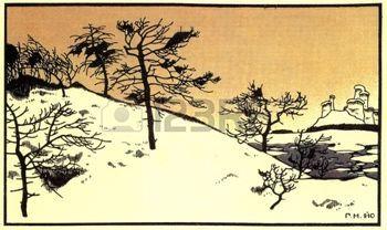 """paesaggio invernale - illustrazioni di Gregory popolare russa racconto Narbut """"Mansion"""", editore Joseph Knebel, Mosca, 1910 photo"""