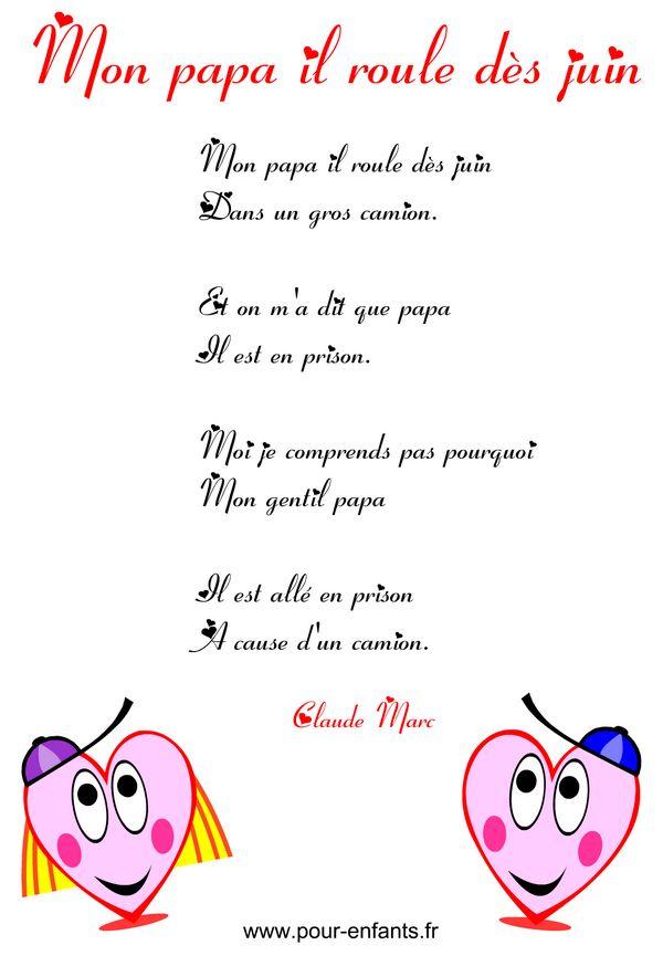 Fête des pères | Poème humoristique à imprimer en images poemes coeurs fete des peres humour papa camionneur