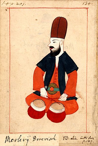 Mevlevi dervish    playing the kudum drum used in Mevlevi music.   Claes Rålamb (8 May 1622 – 14 March 1698) was a Swedish statesman. The 'Rålamb Costume Book' is a small volume containing 121 miniatures in Indian ink with gouache and some gilding, displaying Turkish officials, occupations and folk types. They were acquired in Constantinople in 1657-58 by Claes Rålamb who led a Swedish embassy to the Sublime Porte, and arrived in the Swedish Royal Library / Manuscript Department in 1886.