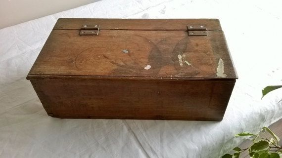 Wooden box vintage French storage box with lid keepsake