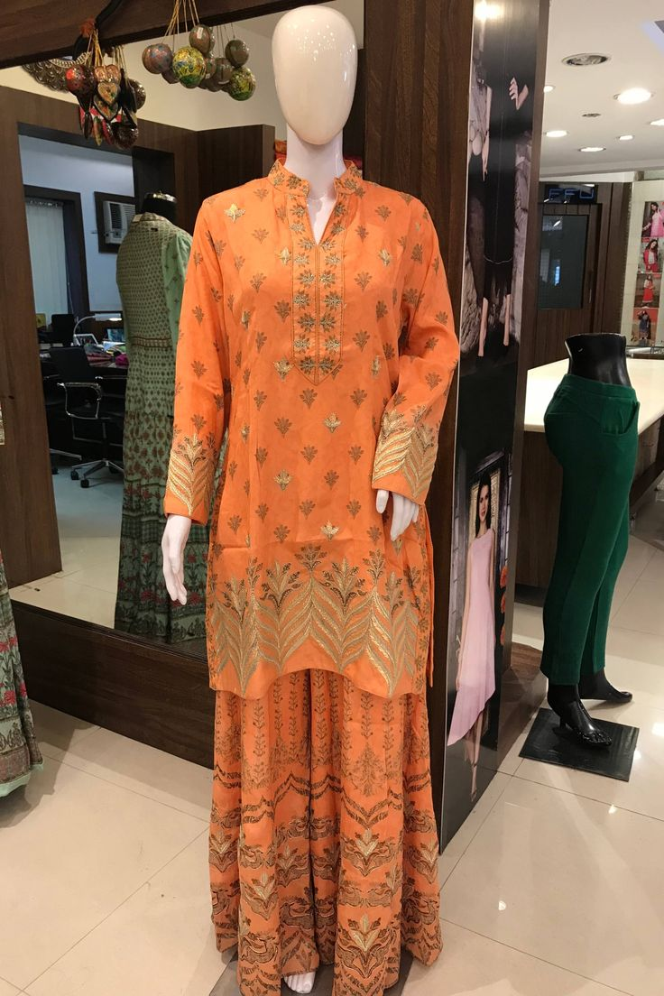 Gota-Pati Work Suit, Woman Indian Ethnic, Party, Wear, Girl, Designer, Indian, Indian Wedding Ethnic Wear, Orange Girl Outfit, Stitched Suit by AngadCreations on Etsy #indian #ethnic #party #wedding #wear #woman #dress #suit #designer #outfit #with #hand #work #orange #sharara