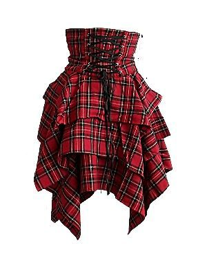 RED TARTAN PLAID CORSETTED HIGH WAISTED HANDKERCHIEF STEAMPUNK SKIRT GOTH 10 14