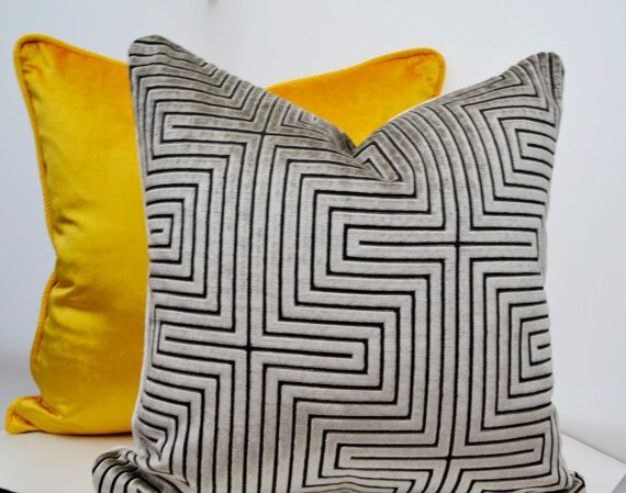 Gray Velvet PillowSilver  Velvet Pillow by LaletDesign on Etsy