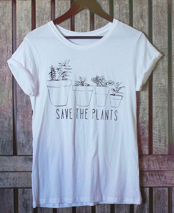 Succulent Flowers Plants Tee Shirt // Save the Plants - Nature Shirt // Bohemian Floral Cactus Shirt // Womens Boho Clothing - Hippie Shirt