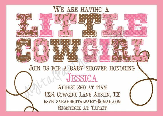 Little Cowgirl baby shower invitation 4x6 or 5x7 by DigitalParty, $7.00