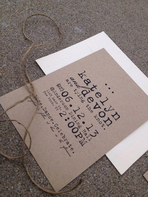 simple vintage rustic typewriter wedding invitations