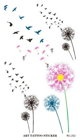 New Waterproof Tattoo Sticker Colored Dandelion Birds Flying Temporary Tattoo Foil Decal Body Art Fake Tattoo Sticker Wholesale