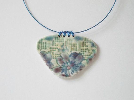 Ceramic pendant//Porcelain pendant//Blue by CherishCeramics
