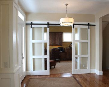 Craftsman Custom. Adds a bit of privacy without taking up as much space as a door and without the work of adding a pocket door.