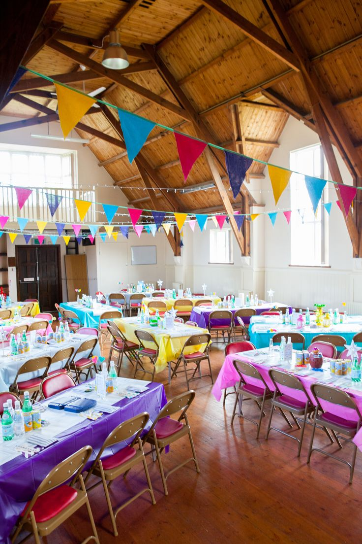 colourful village hall wedding reception.  Harlestone village institute. colourful. Crafty. Diy. handmade. budget wedding.