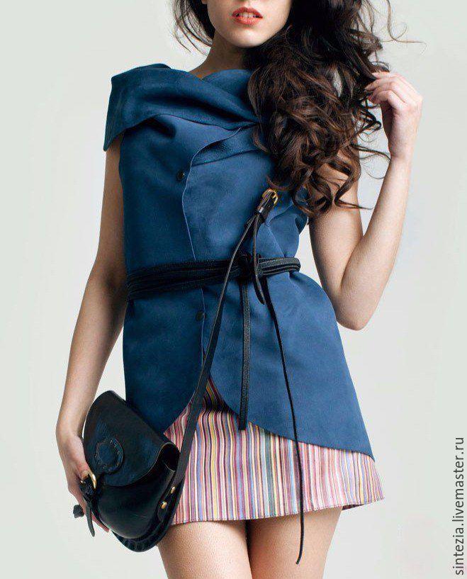 Кожаный жилет - Кожаный жилет, кожаная одежда, дизайнерская одежда, пошив на заказ