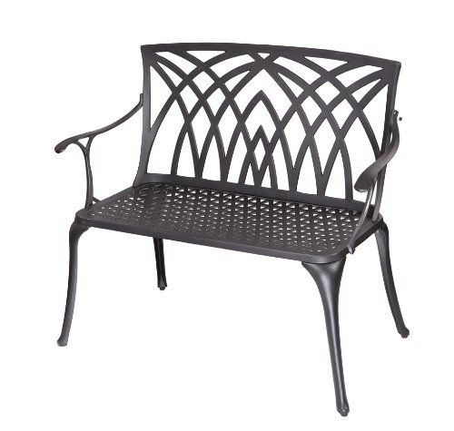 Alium Kennedy Cast Aluminium Garden, Black Cast Aluminium Garden Bench