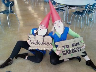Homemade Lawn Gnomes Costumes: For high school spirit week there was a theme every day. My friend Kara and I love spirit week. Monday was twin day. Usually people come in wearing