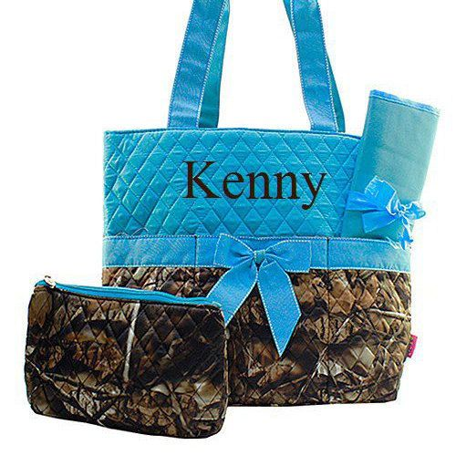 Personalized Turquoise Camo Diaper Bag Diaper by TurtleCoveStudio