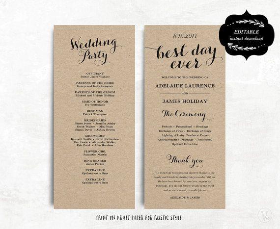 printable wedding program template kraft paper wedding