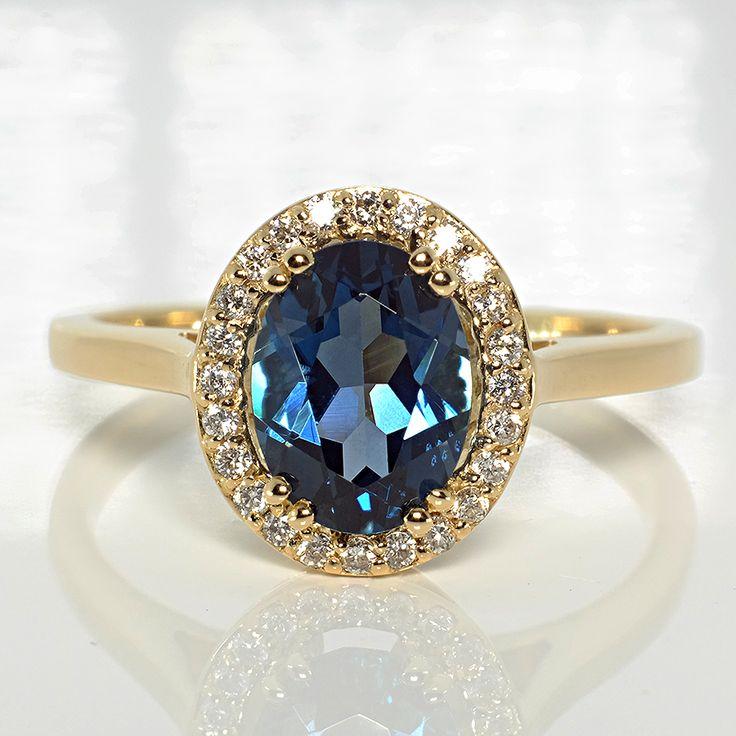 Inel din aur cu Topaz si diamante 029TpLbDi