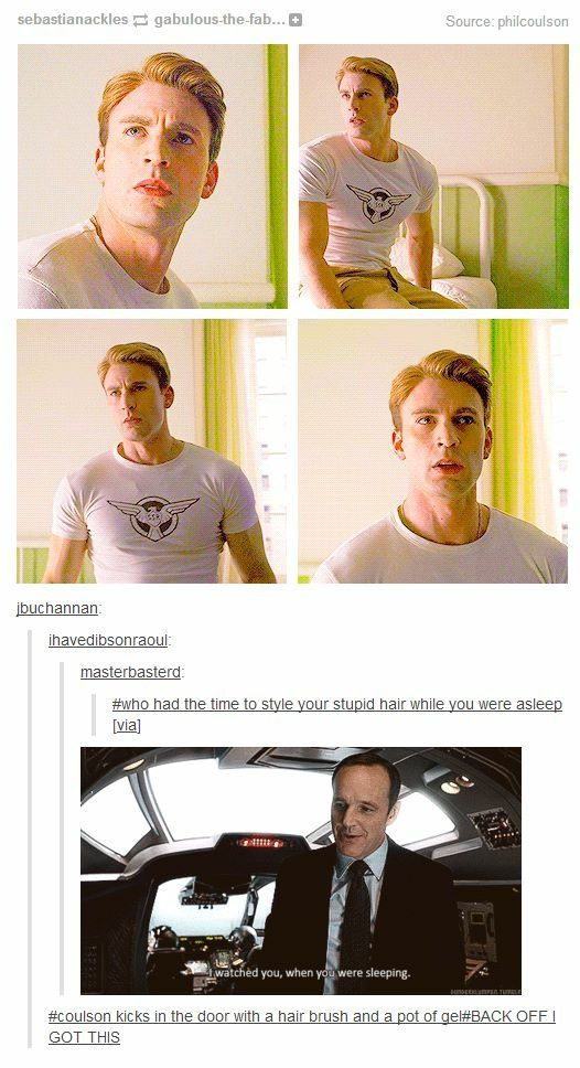 Coulson watched Cap while he was sleeping and styled his hair... xD