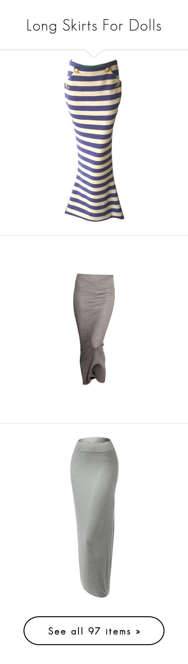 """Long Skirts For Dolls"" by nikki-kersey ❤ liked on Polyvore featuring skirts, nautical skirt, versace skirt, cream skirt, versace, wool jersey, bottoms, brown skirt, maxi skirt and jersey foldover maxi skirt"