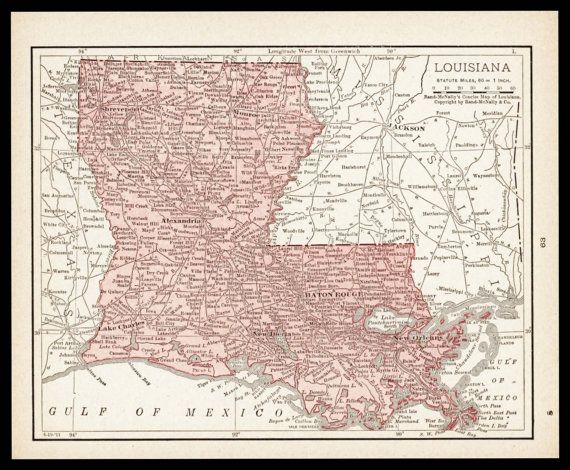 Small Louisiana Map of Louisiana State Map by ParagonVintagePrints