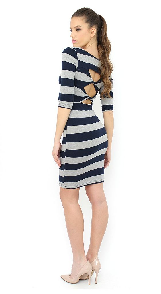 Grey Striped Midi Dress to add extra sexiness to your looks. http://famevogue.ro/haine_femei_85/rochii_86/rochie_mulata_cu_dungi_groase_691  #dress #style #fashion #trends #casual
