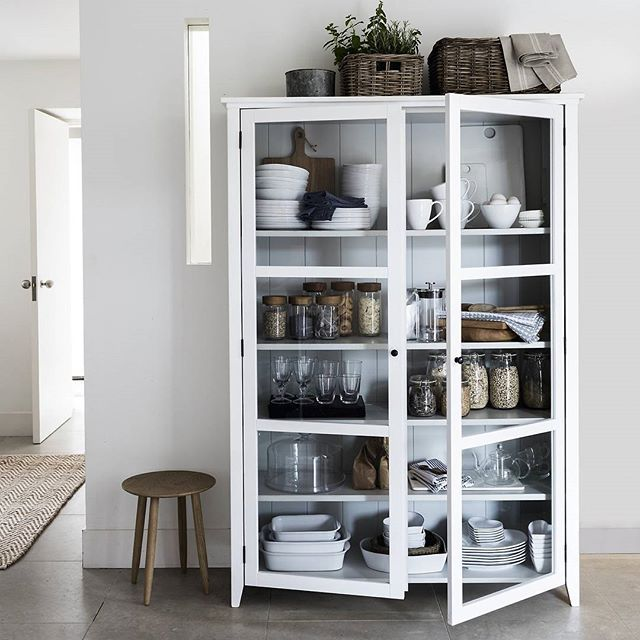 DREAM HOME | A place for everything... This stunning piece is just brilliant for making kitchen organisation easy.  Shop our 'Glass Display Cabinet', 'Large Pantry Jar' and 'Large Clip-Top Storage Jar' from the link in our bio. #TheWhiteCompany #Interiors #DreamHome