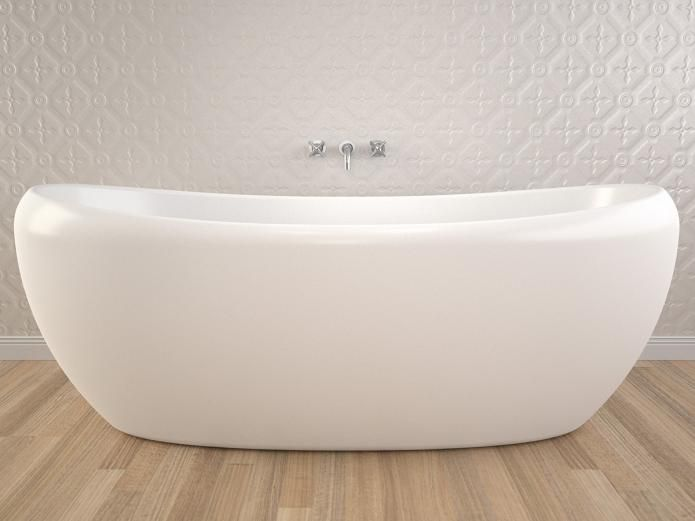 pressed metal wall with freestanding bath